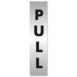 Pull Sign Aluminium Effect Acrylic