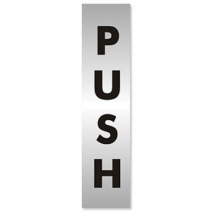 Push Sign Aluminium Effect Acrylic