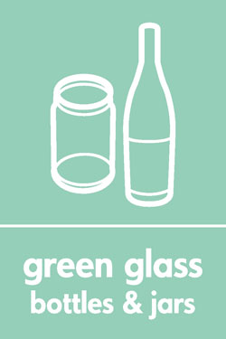 Green glass bottles and jars