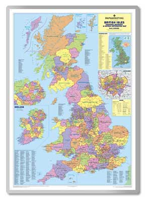 British Isles Counties, Districts & Unitary Authorities Map  safety sign