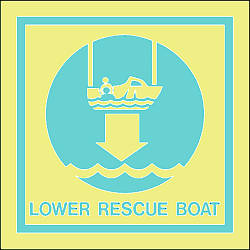 lower rescue boat Marine IMO Sign