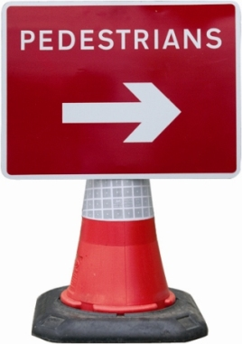 Road Cone Signs :: 600x450mm Cone Sign Pedestrians Arrow Right