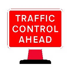 Road Cone Signs :: 1050 x750mm Cone sign Traffic Control Ahead