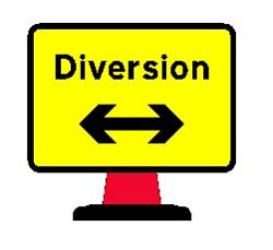 Road Cone Signs :: 1050 x750mm Cone sign Diversion Reversible Arrow