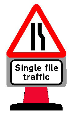 Road Cone Signs :: 850x1000mm Single File Traffic
