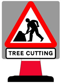 Road Cone Signs :: 750x750mm Tree Cutting Sign
