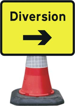 Road Cone Signs :: 1050x750mm Diversion - Arrow Right
