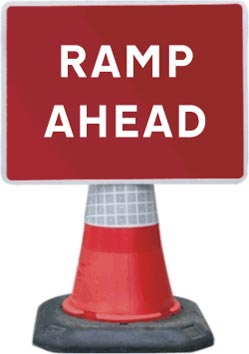 Road Cone Signs :: 1050x750mm Ramp Ahead
