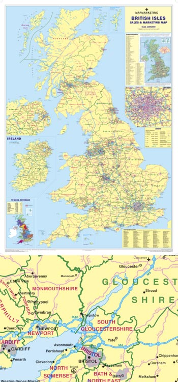 Giant British Isles Sales and Marketing Map MAPS
