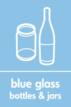 Blue glass bottles and jars Recycle