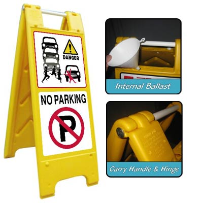 Heavy Duty Large A-Board No Parking 2 Signs for Schools